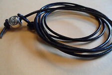 Black Leather Wrap/ Anklet/Thong/Surf Cuff/Wristband/Bracelet Yin Yang Bead