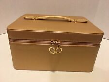 "ESTEE LAUDER Gold Tone Make Up Carry Case, 11""x8""x6""tall, Hard side, RED Inside!"