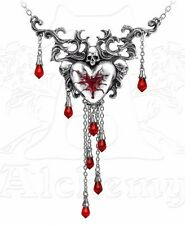 Bleeding Heart Skull Pendant Dramatic Necklace Red Crystals Alchemy Gothic P550