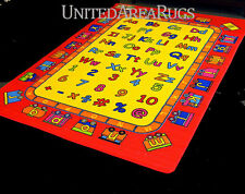 3x5  Educational Area Rug  ABC Kids School Time Numbers & Train Yellow & Red NEW