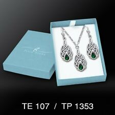 Celtic Knotwork Emerald glass earrings pendant sterling silver chain peter stone