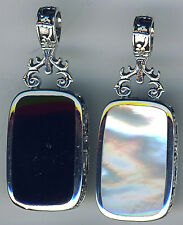 """925 Sterling Silver Black Onyx & White Mother of Pearl Reversible Pendant 1.3/4"""""""