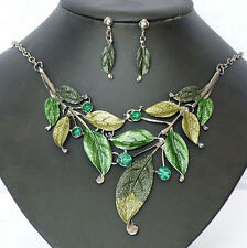 Hot Sell Retro Enamel Leaf Cluster Rhinestone Earring Necklace Set Jewelery