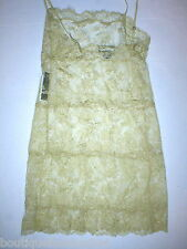 NWT New Designer Josie Natori Night Gown Chemise Lace Gold Sheer Sexy Lingeri S