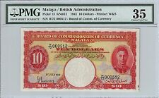MALAYA 1941 KING GEORGE VI $10 DOLLAR P13 LOW SERIAL NUMBER 000512 FAST SHIPPING
