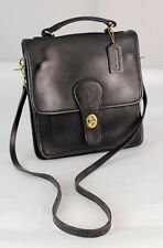 Authentic Vintage Coach Black Leather 2-Way Cross-body Shoulder bag Purse
