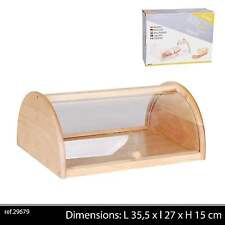 Large Traditional Wooden Bread Bin Food Storage Box With Clear Acrylic Roll Top