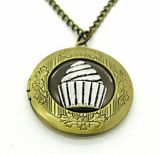 Bronze Cupcake Locket Pendant Necklace Photo Love Family Gift