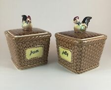 Set Of 2 Jam Jelly ROOSTER Container Jar Lid Chicken Ceramic Japan FREE SHIPPING
