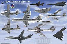 USAF Strategic Bombers Educational Military Airplanes Chart Poster 24x36