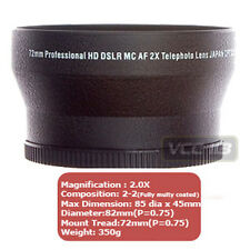 72mm ( 74mm ) 2X Telephoto Lens FOR SONY DSC-H50 DSC-H9