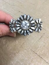 Native American Navajo Bracelet White Buffalo Turquoise Cluster Cuff Rosanna  #1