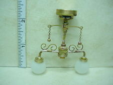 Dollhouse Miniature Battery Operated Lamp 2 Arm Shabby Antique Globe Light #C37S