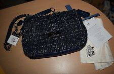 AUTHENTIC COACH ~NAVY BLUE SEQUIN CHELSEA TWEED BOUNCLE FLAP BAG PURSE NEW W TAG
