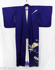 付け下げ着物 Tsukesage Kimono - Deep blue Sensu - 100% soie - Made in Japan 1236