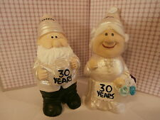 """30th pearl wedding anniversary mr and mrs gift gnome figurines """"personalised"""""""