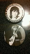 ROLLING STONES BRIAN JONES MEMORIAL & KEITH RICHARDS FOR PRESIDENT BADGE/BUTTON/