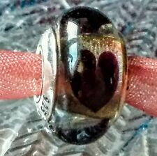 Authentic Pandora Murano Bead Glass Clear Love Black Heart Charm 925/ALE #790665