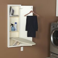 In Wall Ironing Board Storage House Hold Hidden Iron Adjustable Organizer White