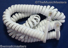 White 15' ft Telephone Handset Receiver 4P4C Coil Cable Curly Cord Wire VWLTW