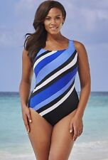 NWT LONGITUDE WOMEN'S Blue and White STRIPE 1 pc Bathing Suit SWIMSUIT SZ - 16