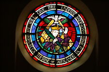 """+ Round Stained Glass Window  """"St. Catherine of Alexandrea"""" +(#10) + chalice co."""