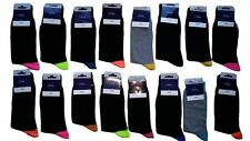 6 PAIRS MEN ADULTS BLACK COTTON SOCKS WITH COLOURED HEELS&TOES UK  6 -11  MKSL
