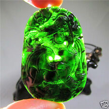 Chinese natural black green jade hetian jade hand-carved dragon pendant