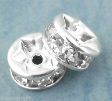 30PCs Silver Plated Rondelles Rhinestone Spacers Beads 6mm Dia.