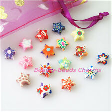 30Pcs Mixed Handmade Polymer Fimo Clay Star Flat Spacer Beads Charms 10mm