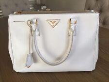 Prada Medium Bag Purse Handbag Saffiano Off White