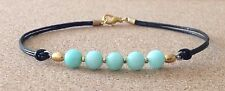 AMAZONITE, Black Leather Cord, Gold Tone Plated, Charm Friendship Bracelet