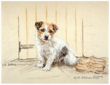 JACK RUSSELL TERRIER DOG ART LIMITED EDITION PRINT - Terrier at the Back Door