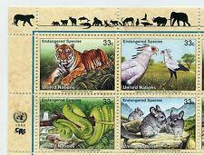 UN New York 1999 Endangered species block of 4 mint