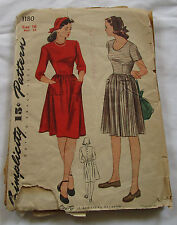 Vintage Simplicity 1940's Sewing Pattern 1180 Dress and Hat Size 16 Bust 34