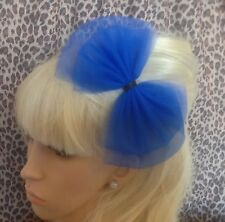 BIG BOW ROYAL BLUE TULLE TUTU NET ALICE HAIR HEAD BAND 80s RETRO PARTY FANCY