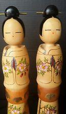 2 Japanese Lovely Girl Kokeshi Doll Signed Spring Plum Blossom Hand Painted Pair