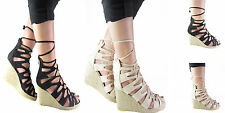 NEW LADIES WOMENS WEDGE CUTOUT LACEUP ESPADRILLE GLADIATOR SANDAL SHOES SIZE 3-8