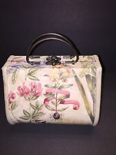 Vintage Women's Wooden Box Purse Flower Painted Metal Handles Clutch Bag Handbag