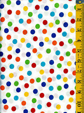 Primary Large Polka Dots on White cotton quilt fabric Timeless Treasures  BTY