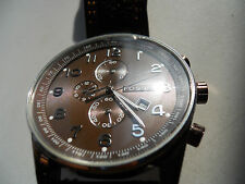 Fossil mens chronograph brown leather band Analog watch.fs-4309