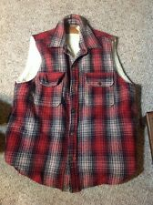 VTG 90s American Eagle Outfitters Red Black Plaid Warm Wool Hunting Vest Hip Hop