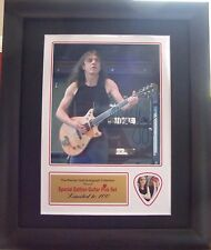 Malcolm Young AC/DC Preprinted Autograph & Guitar Pick Display Mounted & Framed