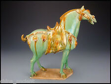 Ancient Chinese Tang Dynasty Sancai Glazed Pottery Horse