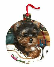 Yorkshire Terrier ORNAMENT CHRISTMAS painting Dog art Yorkie PUPPY 2015