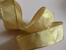 Gold Antique Xmas Wedding Ribbon Cakes Wreath Wire Edge Freepost