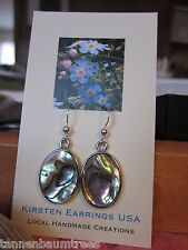 Natural Beauty Paua Shell Oval Sterling Silver Hook Kirsten Earrings USA Made