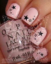 NAIL ART BLACK STARS WATER DECALS TRANSFERS DECORACION DE UÑAS CALCOMANIAS