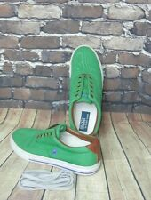 Polo Ralph Lauren Mens Green Vaughn Canvas Leather Tennis Shoe Sneaker  Size 10