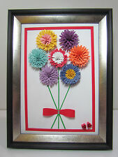 "3D Quilled paper DIY handmade gift""colorful daisy""picture with frame by YJMai"
